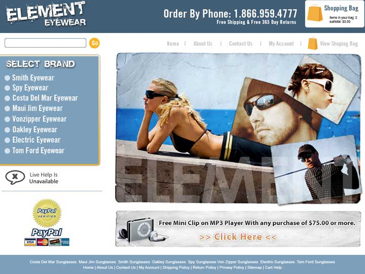 element eyewear web design